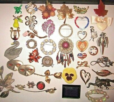 Vintage Collection Lot of 40 Beautiful Estate Brooch Pins