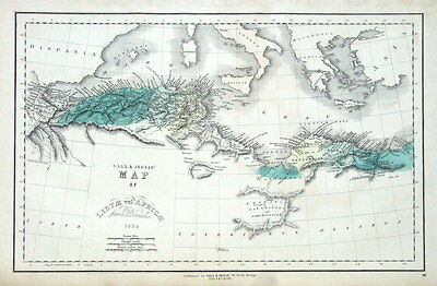 NORTH AFRICA, LIBYA, TUNISIA, ALGERIA Gall & Inglis original antique map c1850