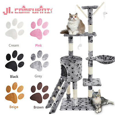 🐈JL Comfurni Cat Tree Sisal Scratching Post Kitten Scratcher Nest Tower High