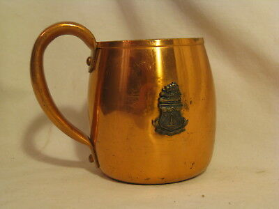 vintage Solid Copper West Bend cup engraved + ornate lion Greek ? coat of arms
