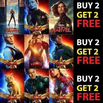 CAPTAIN MARVEL POSTER COVERS A4/A3 300gsm Avengers Comic Movie Film Wall Fan Art