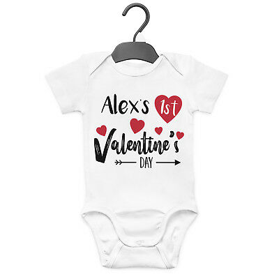 1St Valentines Day Personalised Baby Grow Vest Custom Funny Gift Cute