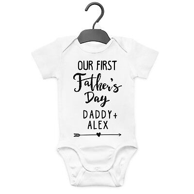 Our First Father's Day Personalised Baby Grow Vest Custom Funny Gift