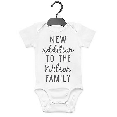 New Addition To The Family Personalised Baby Grow Vest Custom Funny Gift Cute