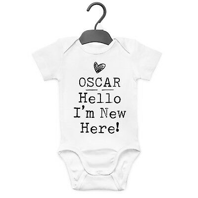 Hello I'm New Here Personalised Baby Grow Vest Custom Funny Gift Cute