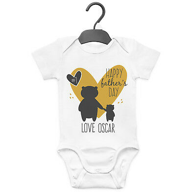 Happy Father's Day Personalised Baby Grow Vest Custom Funny Gift Cute