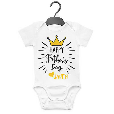 Happy Father's Day Crown Personalised Baby Grow Vest Custom Funny Gift Cute