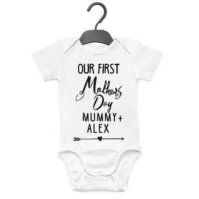 Our First Mother's Day Personalised Baby Grow Vest Custom Funny Gift Cute