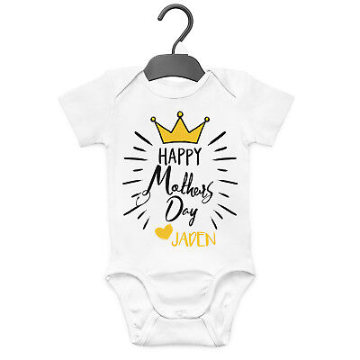 Happy Mother's Day Crown Personalised Baby Grow Vest Custom Funny Gift Cute