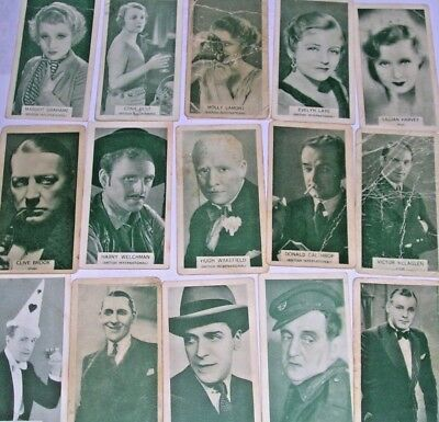 Vintage  cigarette cards - British Born Film Stars 24 cards