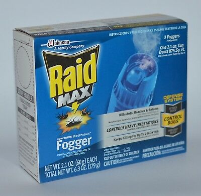 Raid Max Concentrated Deep Reach Fogger Kills Ant Roach Spider Killer Defense