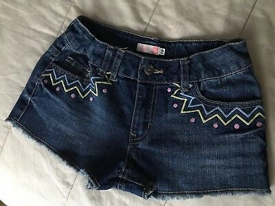 Piping Hot Girls Size 10,Blue Denim Shorts With Embroidery. Adjustable Waist
