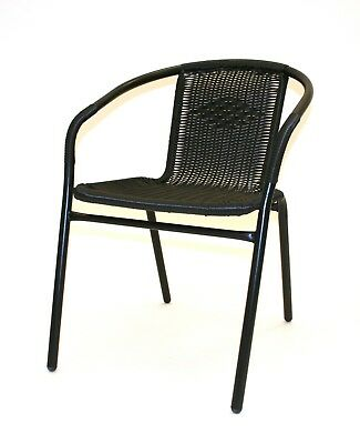 SC-037 Black Rattan Chairs with black metal frames, ideal for gardens & business