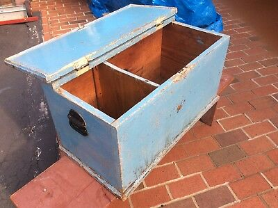 Vintage Blue 2 Compartment Wood Box With Hinged Lid / Metal Handles - Very Good