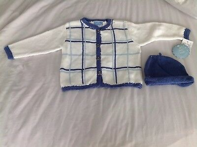First Wish Baby Girl/boy White And Blue Vintage Cardigan + Hat Age 2 Years