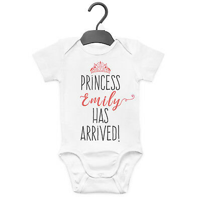 Princess Has Arrived Personalised Baby Grow Vest Custom Funny Gift Cute