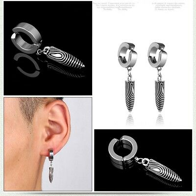 1pc mens womens 316 Surgical Titanium Bullet Punk Round earrings No Piercing