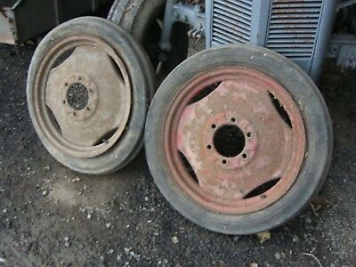 Pair Of Front Wheels For Grey Ferguson T20 Tractor
