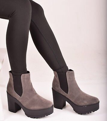 Ladies Womens Mid Block Chunky Heel Slip On Ankle Boots Casual Shoes Size 6-8