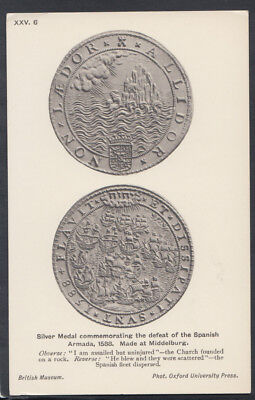 British Museum Postcard-Silver Medal Commemorating Defeat of The Spanish RS12328