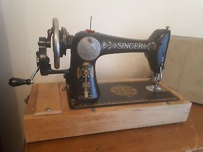 Vintage Singer Sewing Machine Green and Black in case