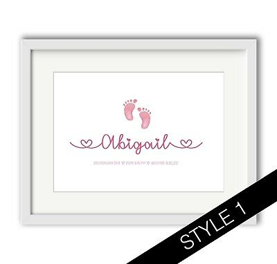 NEW BABY PERSONALISED GIFT Newborn - Christening - Various - A4 PRINT or FRAMED