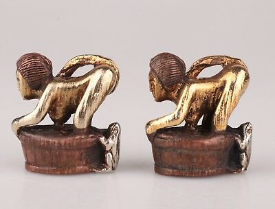 2 Red Copper Silver Plated Hand Solid Casting Belle Bathing Statue  Netsuke