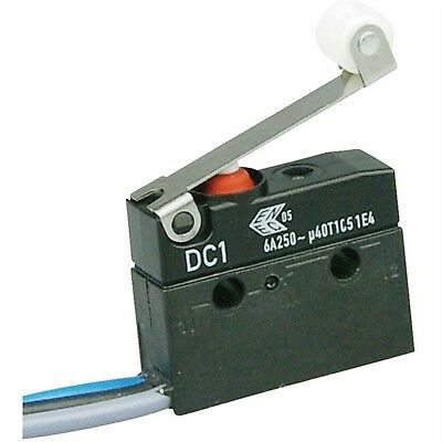 ZF DC1C-C3RC Microswitch SPDT 6A 250V AC, Medium Roller, Leads, IP67