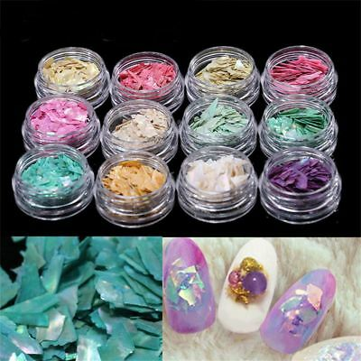 DIY Tips 3D Colorful Pearl Light Nail Art Decor Crushed Natural Seashell Slices