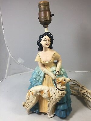 Antique Figural Woman with Dog Chalkware Lamp Flapper Dress Vintage