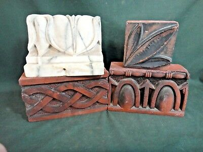 Lot of 4 Interesting Fancy Antique Architectural Salvage Bricks - Old Bookends