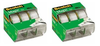 "6 PK Invisible Scotch Magic Tape, Refillable Dispenser Roll, 3/4"" x 300"""