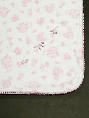 Pink White Princess Baby Blanket Castle Carriages Bows Girls Security RN 75343