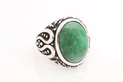 Turkish Jewelry Oval Green Agate Stone 925 Sterling Silver Men's Ring Size 12