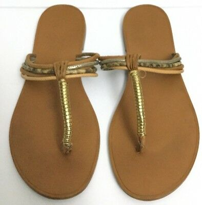 7bdfc874a5a5 Aldo Strappy Leather Thong Sandals Tan Gold Size 7.5 pre-owned