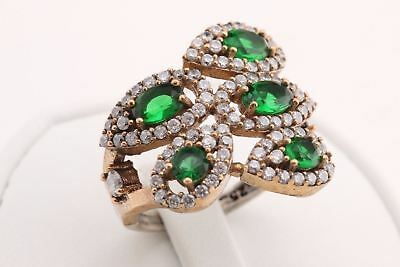 Turkish Jewelry Five 5 Pear Drop Emerald Topaz 925 Sterling Silver Ring Size 8.5