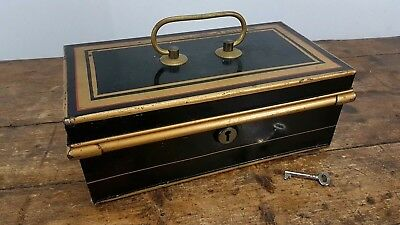 ANTIQUE VICTORIAN 1800's  METAL BRASS CASH MONEY BOX UK MADE WITH KEY
