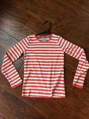 Girls long sleeve Mini Boden striped shirt 9-10y with lace on sleeves