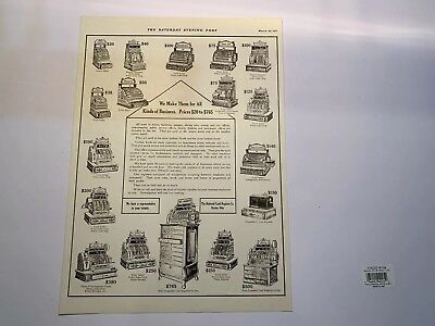 Antique National Cash Register Advertising Showing Different Models & Prices Ncr