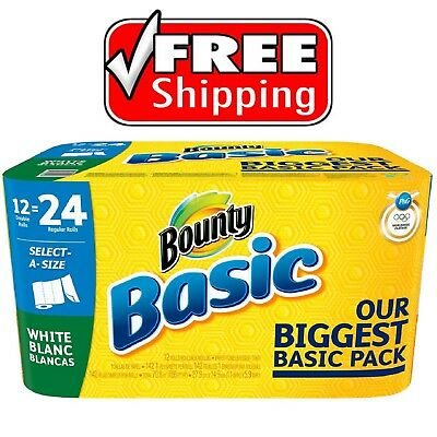 Bounty Basic Paper Towels, 1-Ply 55 sheets per roll, 12 rolls per pack - New