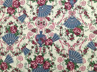 5 Yards Pretty Vintage Fans & Pink Roses Cotton Fabric