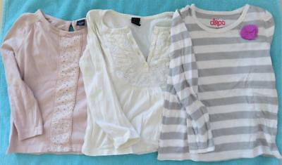 Lot 3 Girls 3T Long Sleeve Tee Shirts Gap Pink Cream Circo Excellent Condition