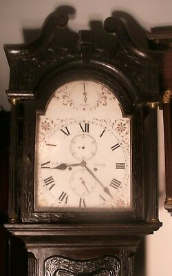 """Antique Superb Carved Oak  8 Day  """" Jersey """"  Longcase / Grandfather  Clock"""