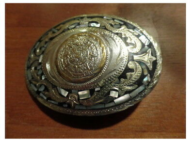 Vintage  Mexican Silver & Abalone belt buckle