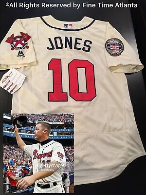 NEW Chipper Jones Atlanta Braves Men s Cream 2018 Hall of Fame Patch Jersey 9fa6eac4f