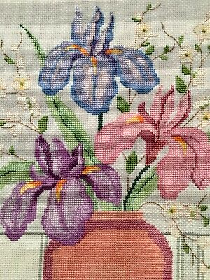 "Beautiful Iris Flowers Finished Completed Cross Stitch Embroidery ~ 21"" x 20"""