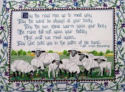 "Irish Blessing & Lambs Finished Completed Cross Stitch Embroidery ~ 19"" x 15"""