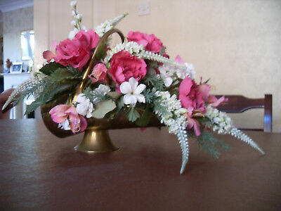 Brass Coal Scuttle With Flower Display