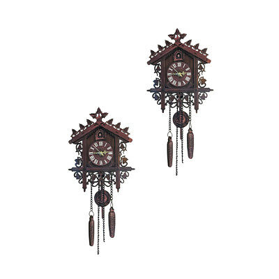 2xAntique Wood Cuckoo Wall Clock Handcraft Pendulum Clock Home Art~Deep