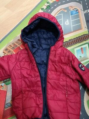 Baby Boys 9-12 Months Reversible Coat Jacket Hood Red Navy Padded Light Down